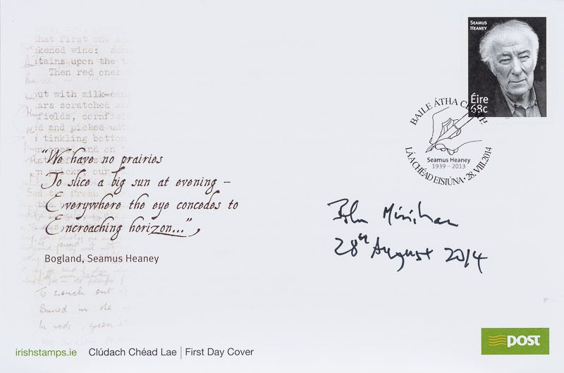 [Heaney, First Day Cover of the commemorative stamp for Seamus Heaney. Signed by