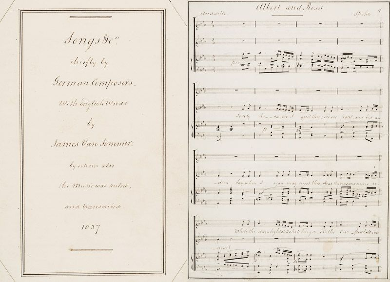 "Sommer, Manuscript of: ""Songs &c., chiefly by German Composers. With English Wor"
