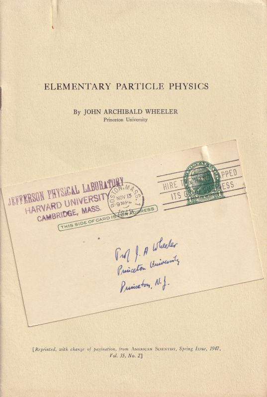 [Holton, Elementary Particle Physics – Original Offprint from the library of Joh