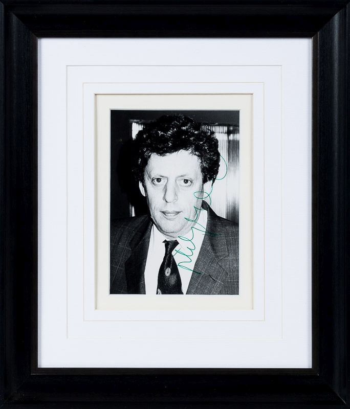 Glass, Original Portrait Photograph – signed in green ink by Philip Glass.