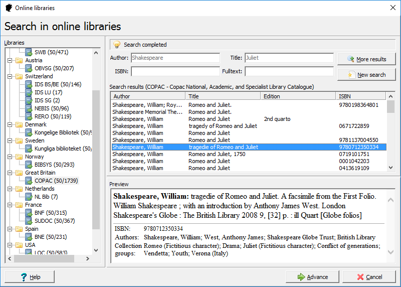 Easy cataloguing: Juliet has direct access to the bibliographic data of all important international libraries.