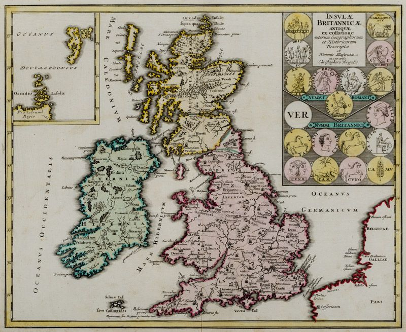 Christoph Weigel - Insulae Britannicae Antiquae [with Ireland and Scotland] ex collatione veterum Geographorum