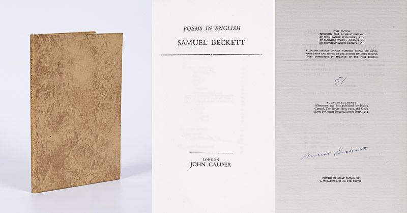 Beckett, Poems in English. [The very rare Limited Edition (one of only 100) – si