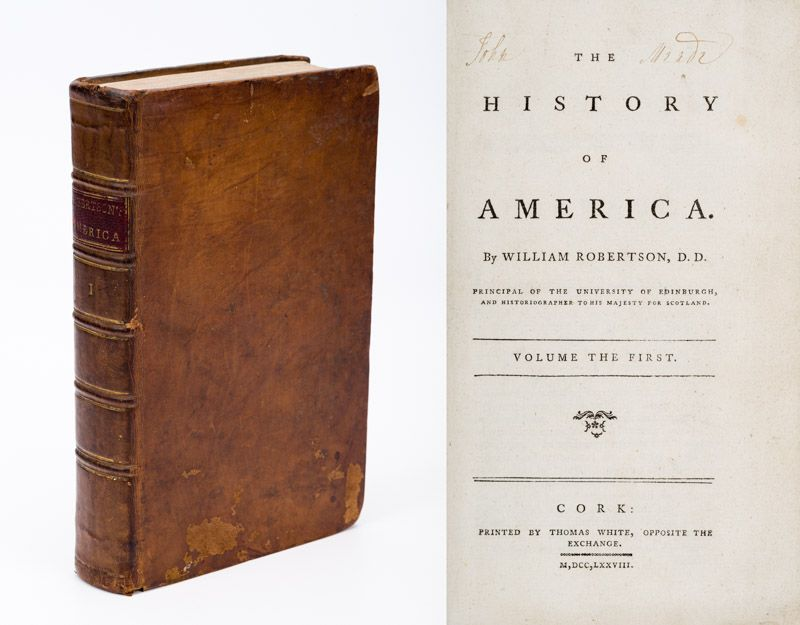 [Cork Print – 18th century] Robertson, The History of America.